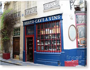 Paris Wine Shop Resto Cave A Vins - Paris Street Architecture Photography Canvas Print by Kathy Fornal