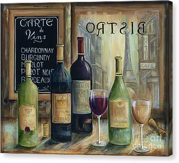 Wine Scene Canvas Print - Paris Wine Tasting by Marilyn Dunlap