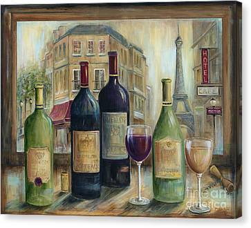 Wine Glass Canvas Print - Paris Wine Tasting With A View by Marilyn Dunlap