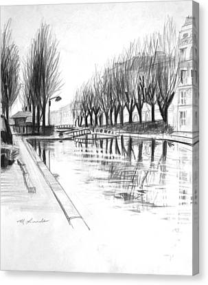 Paris Winter Canal Canvas Print