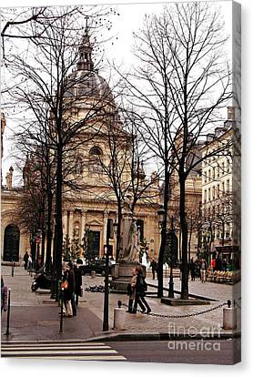 Paris Winter City Streets Architecture Buildings People Winter Street Scene Photos Canvas Print by Kathy Fornal
