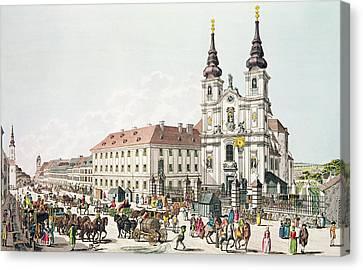 Parish Church And Convent Of Mariahilf, Vienna, 1783 Engraving Canvas Print by Johann Ziegler