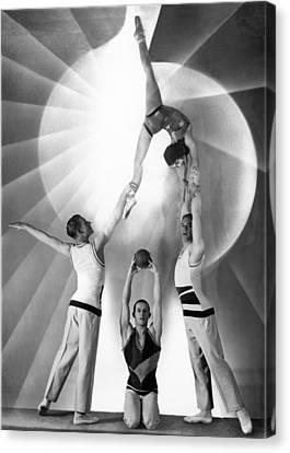 Troupe Canvas Print - Parisian Acrobats by Underwood Archives