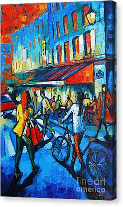 Wine Scene Canvas Print - Parisian Cafe by Mona Edulesco
