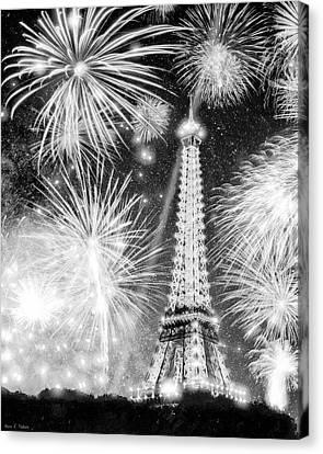 Parisian Fireworks Over The Eiffel Tower Canvas Print