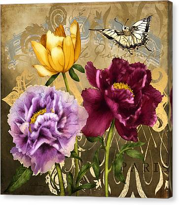 Purple Canvas Print - Parisian Peonies by April Moen