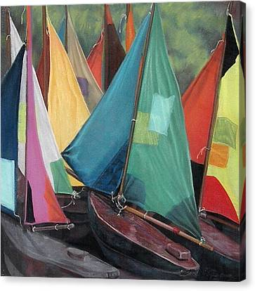 Parisian Sailboats Canvas Print by Kathleen English-Barrett