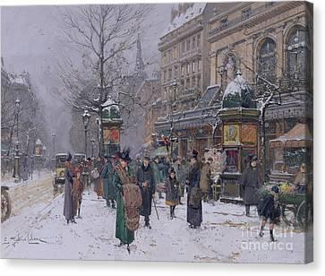 Parisian Street Scene Canvas Print by Eugene Galien-Laloue