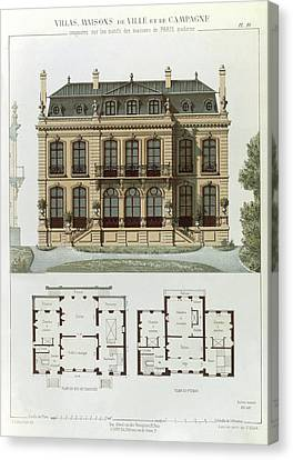 Parisian Suburban House And Plans Canvas Print by Leon Isabey