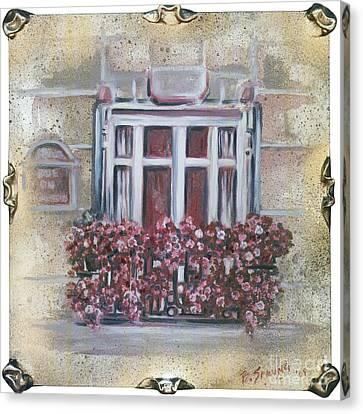 Parisian Window Canvas Print by Bonnie Sprung