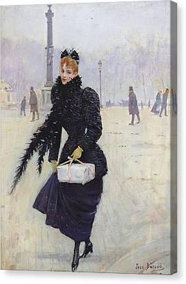Parisian Woman In The Place De La Concorde, C.1890 Oil On Canvas Canvas Print by Jean Beraud