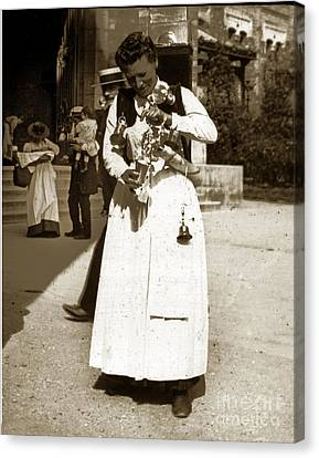 Canvas Print featuring the photograph Parisian Woman Lady Paris France 1900 Historical Photo by California Views Mr Pat Hathaway Archives
