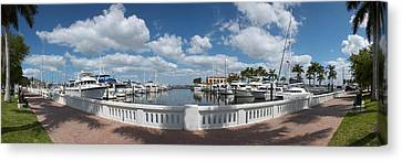 Park At The Riverside, Twin Dolphin Canvas Print by Panoramic Images