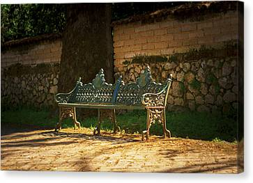 Park Bench Canvas Print by Aged Pixel