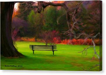 Canvas Print featuring the painting Park Bench by Bruce Nutting