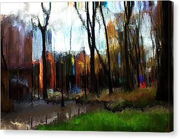 Canvas Print featuring the mixed media Park Block I by Terence Morrissey