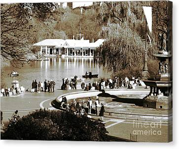 Old School Houses Canvas Print - Park Day by John Rizzuto
