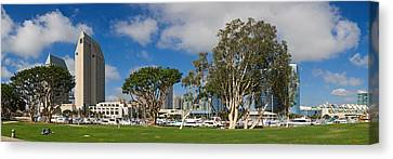 Park In A City, Embarcadero Marina Canvas Print by Panoramic Images