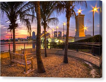 Park On The West Palm Beach Wateway Canvas Print by Debra and Dave Vanderlaan
