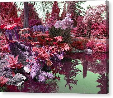 Canvas Print featuring the photograph Park Pond Red by Laurie Tsemak