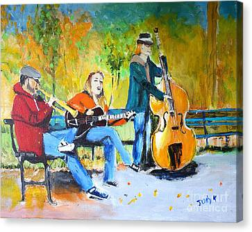 Canvas Print featuring the painting Park Serenade by Judy Kay