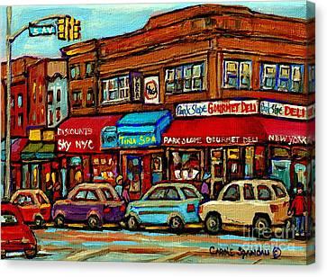Park Slope Gourmet Deli 5th Avenue New York Paintings Storefronts Street Scenes Carole Spandau Canvas Print