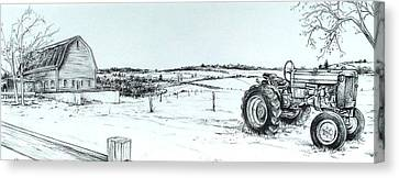Scott Nelson Canvas Print - Parked Tractor  by Scott Nelson