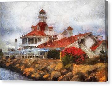 Parkers Lighthouse Restaurant Photo Art Canvas Print by Thomas Woolworth