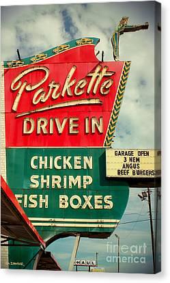 Burger Canvas Print - Parkette Drive-in by Jim Zahniser