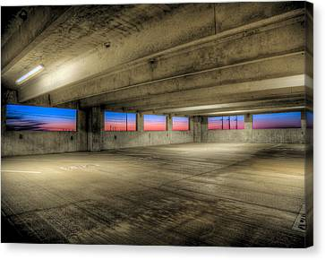 Parking Deck Sunset Canvas Print by Micah Goff