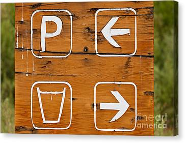 Handpainted Icon Canvas Print - Parking Drinking Water Hand Painted Wooden Sign by Stephan Pietzko
