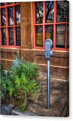 Canvas Print featuring the photograph Parking Meter On Sidewalk by Dave Garner