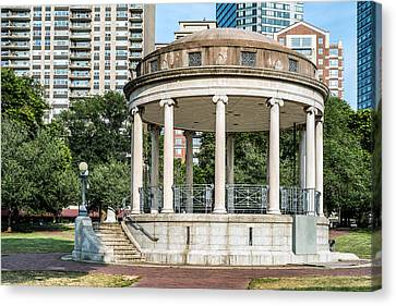 Parkman Bandstand In Boston Public Garden Canvas Print by Boris Mordukhayev