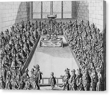 Parliament During The Commonwealth, 1650 Engraving Bw Photo Canvas Print by French School