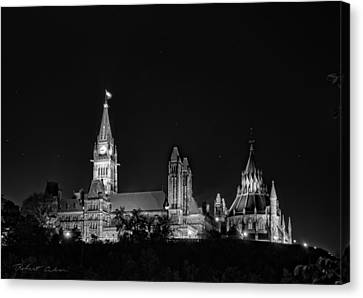 Canvas Print featuring the photograph Parliament From The Park - Bw by Robert Culver