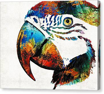 Parrots Canvas Print - Parrot Head Art By Sharon Cummings by Sharon Cummings