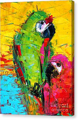 Parrots Canvas Print - Parrot Lovers by Mona Edulesco