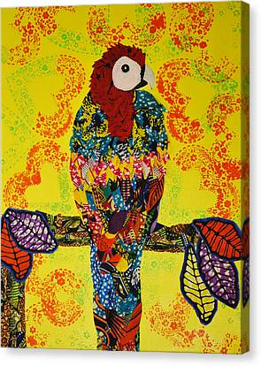 Canvas Print featuring the tapestry - textile Parrot Oshun by Apanaki Temitayo M