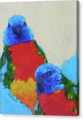 Canvas Print featuring the painting Parrot Pair by Margaret Saheed