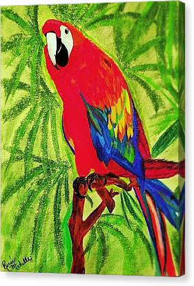 Parrot In Paradise Canvas Print by Renee Michelle Wenker