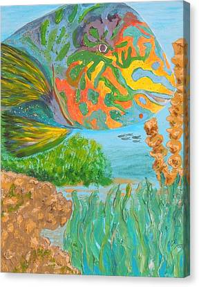 Parrotfish In The Coral Canvas Print by Connie Campbell Rosenthal