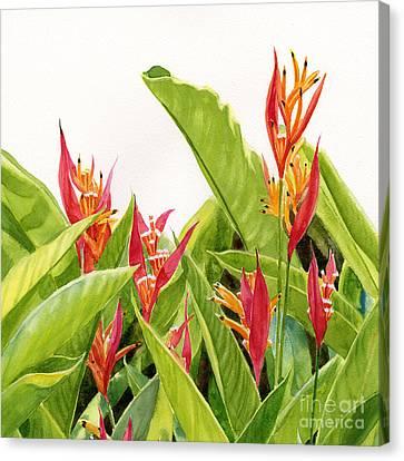 Parrots Flower Square Design Canvas Print by Sharon Freeman