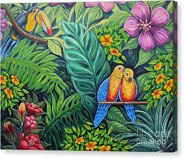 Parrots Jungle Love Scene Canvas Print by Drinka Mercep