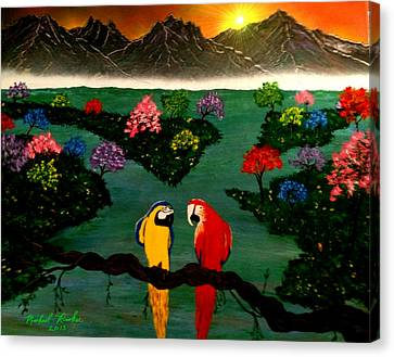 Canvas Print featuring the painting Parrots by Michael Rucker