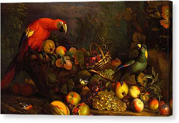 Canvas Print featuring the digital art Parrots by Tobias Stranover