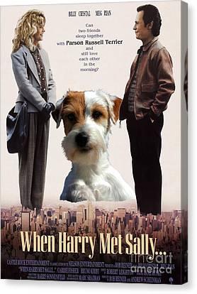 Parson Russell Terrier Art Canvas Print - When Harry Met Sally Movie Poster Canvas Print by Sandra Sij