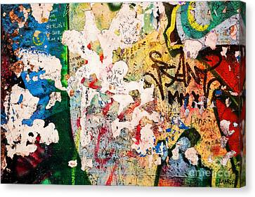Part Of Berlin Wall With Graffiti Canvas Print by Michal Bednarek