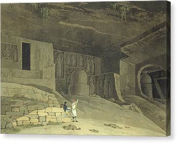 Part Of The Kanaree Caves, Salsette Canvas Print by Thomas & William Daniell