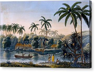 Part Of The Village Of Matavae, Coconut Canvas Print by French School