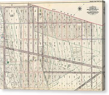 Part Of Ward 30, Land Map Sections, Nos. 3 Canvas Print by Litz Collection